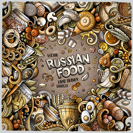 Cartoon vector doodles Russian food frame. Colorful, detailed, with lots of objects background. All objects separate. Bright colors ukrainian cuisine funny border Stock Vector - 104375320