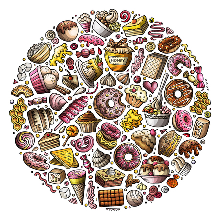 Colorful vector hand drawn set of Sweet food cartoon doodle objects, symbols and items. Round composition Ilustrace