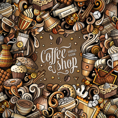 Cartoon vector doodles Coffee frame. Colorful, detailed, with lots of objects background. All objects separate. Bright colors italy cuisine funny border