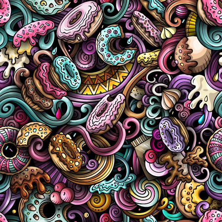 Cartoon cute doodles hand drawn Donuts seamless pattern. Colorful detailed, with lots of objects background. Endless funny vector sweet illustration. All objects separate. Ilustração