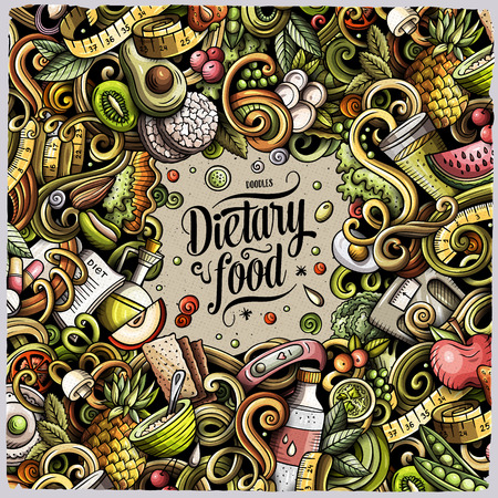 Cartoon vector doodles diet food frame. Colorful, detailed, with lots of objects background. All objects separate. Bright colors dietary funny border