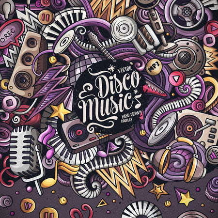 Cartoon vector doodles Disco music frame. Colorful, detailed, with lots of objects background. All objects separate. Bright colors musical funny border  イラスト・ベクター素材
