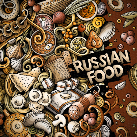 Cartoon vector doodles Russian food frame. Colorful, detailed, with lots of objects background. All objects separate. Bright colors ukrainian cuisine funny border Ilustração
