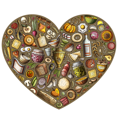 Colorful vector hand drawn set of Russian food cartoon doodle objects, symbols and items. Heart composition