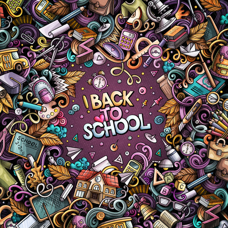 Cartoon vector doodles Back to school frame. Colorful, detailed, with lots of objects background. All objects separate. Bright colors education funny border Ilustrace