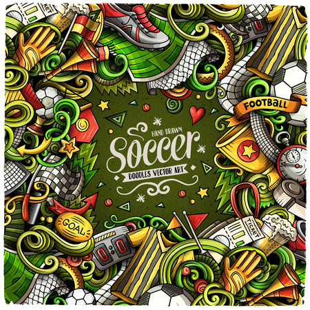 Cartoon vector doodles Soccer frame. Colorful, detailed, with lots of objects background. All objects separate. Bright colors football funny border Иллюстрация