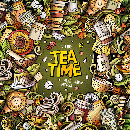 Cartoon vector doodles Tea time frame. Colorful, detailed, with lots of objects background. All objects separate. Bright colors cafe funny border Иллюстрация