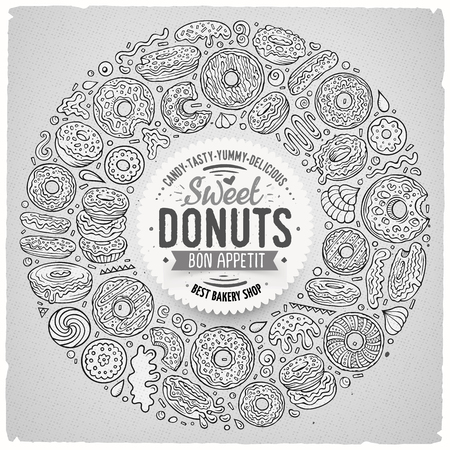Line art vector hand drawn set of Donuts cartoon doodle objects, symbols and items. Round frame composition