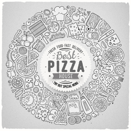 Line art vector hand drawn set of Pizza cartoon doodle objects, symbols and items. Round frame composition