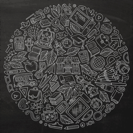 Line art vector hand drawn set of School cartoon doodle objects, symbols and items. Round composition Ilustrace