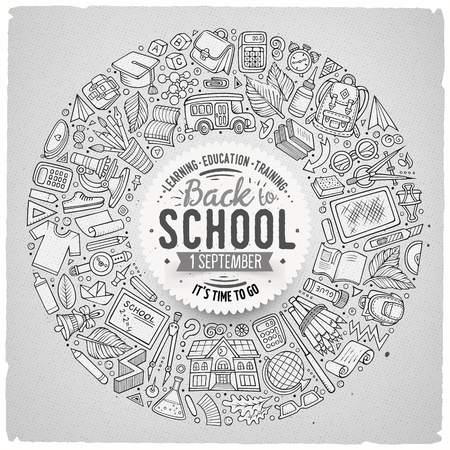 Line art vector hand drawn set of School cartoon doodle objects, symbols and items. Round frame composition
