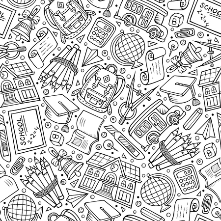 Cartoon hand-drawn Back to School seamless pattern. Lots of symbols, objects and elements. Perfect funny vector background.