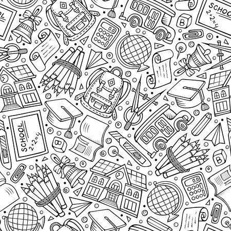 Modello senza cuciture di ritorno a scuola disegnato a mano del fumetto. Molti simboli, oggetti ed elementi. Perfetto sfondo vettoriale divertente.
