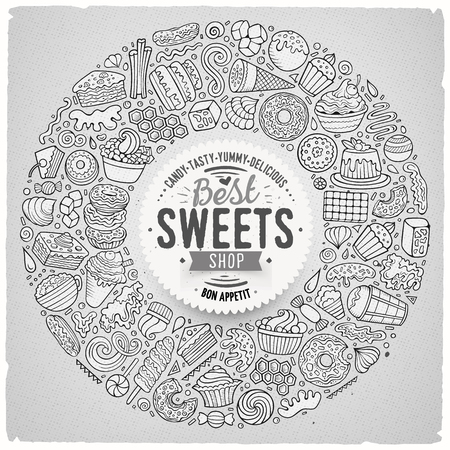 Line art vector hand drawn set of Sweet food cartoon doodle objects, symbols and items. Round frame composition