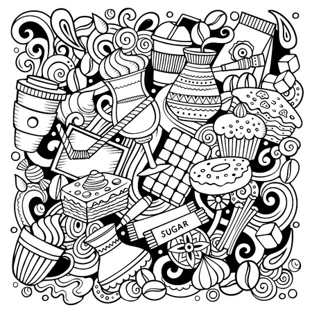 Cartoon vector doodles Coffee House illustration. Line art detailed, with lots of objects background. All objects separate. Sketchy Cafe funny picture Ilustrace