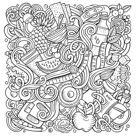 Cartoon vector doodles Diet food illustration. Line art, detailed, with lots of objects background. All objects separate. Sketchy dietary funny picture