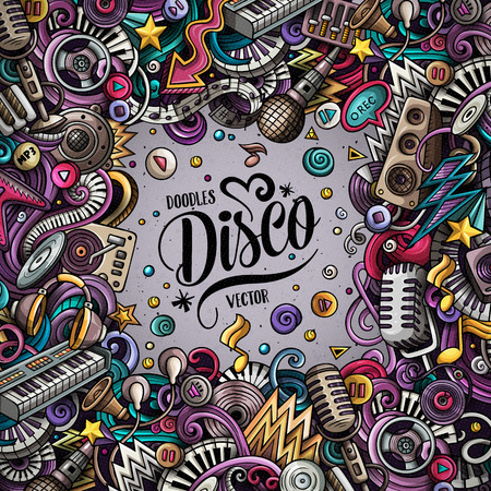 Cartoon vector doodles Disco music frame. Colorful, detailed, with lots of objects background. All objects separate. Bright colors musical funny border Ilustrace