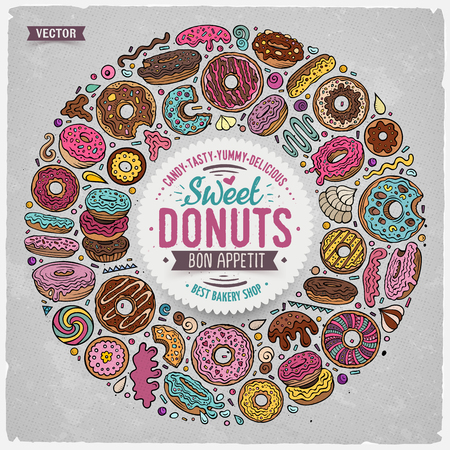 Colorful vector hand drawn set of Donuts cartoon doodle objects, symbols and items. Round frame composition Illustration