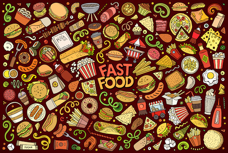 Colorful vector hand drawn doodle cartoon set of fastfood objects and symbols Stock Illustratie