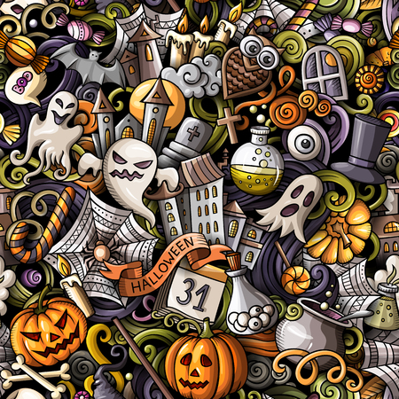 Cartoon cute doodles hand drawn Halloween seamless pattern. Colorful detailed, with lots of objects background. Endless funny vector illustration. All objects separate. Stock Illustratie