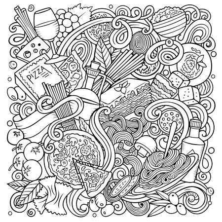 Cartoon vector doodles Italian Food illustration. Line art, detailed, with lots of objects background. All objects separate. Sketchy Italy cuisine funny picture