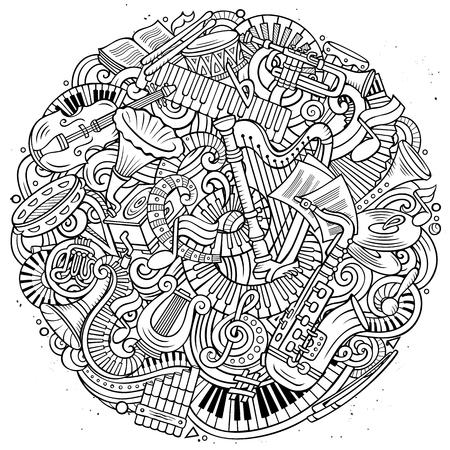 Cartoon vector doodles Classic music illustration Archivio Fotografico - 104850320