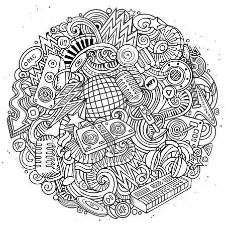 Cartoon vector doodles Disco music round illustration. Line art, detailed, with lots of objects background. All objects separate. Sketchy musical funny picture