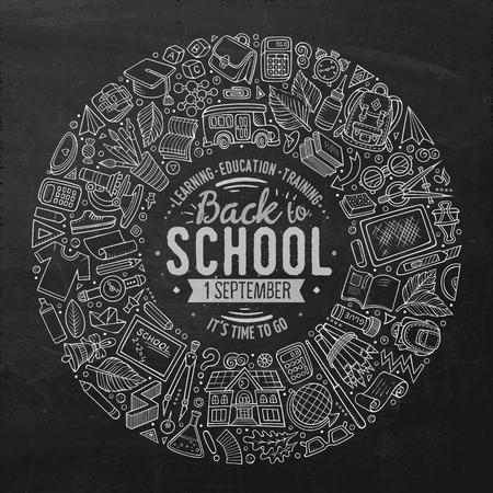 Insieme disegnato a mano di vettore di linea arte di oggetti, simboli e oggetti di doodle del fumetto della scuola. Composizione cornice rotonda
