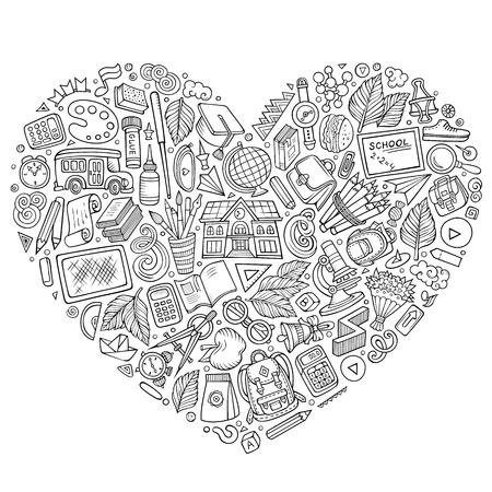 Insieme disegnato a mano di vettore di linea arte di oggetti, simboli e oggetti di doodle del fumetto della scuola. Composizione a forma di cuore