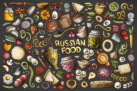 Ensemble de dessins animés doodle dessinés à la main de vecteur d'articles, d'objets et de symboles sur le thème de la cuisine russe Vecteurs