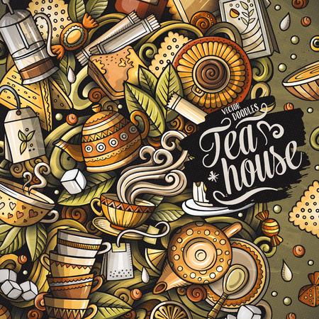 Vector de dibujos animados garabatos Marco de tiempo del té. Colorido, detallado, con muchos objetos de fondo. Todos los objetos se separan. Frontera divertida del café de colores brillantes
