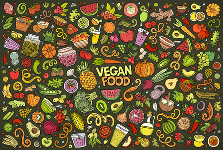 Colorful vector hand drawn doodle cartoon set of Vegan food objects and symbols 向量圖像