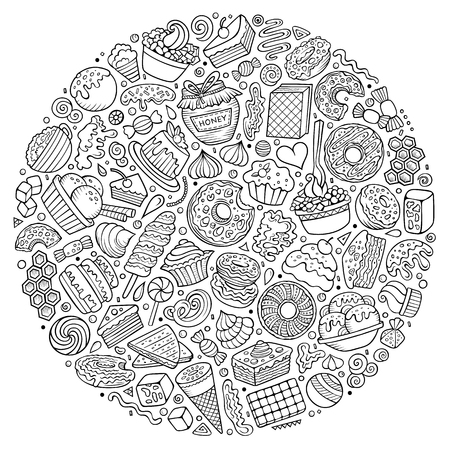 Line art vector hand drawn set of Sweet food cartoon doodle objects, symbols and items. Round composition