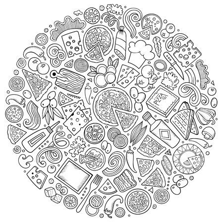 Line art vector hand drawn set of Pizza cartoon doodle objects, symbols and items. Round composition Banque d'images - 114877671