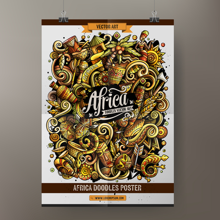 Cartoon colorful hand drawn doodles Africa poster template. Very detailed, with lots of objects illustration. Funny vector artwork. Corporate identity design. Иллюстрация