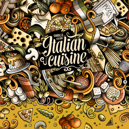 Cartoon vector doodles Italian food frame Иллюстрация
