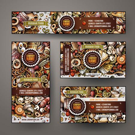 Modèles vectoriels d'identité d'entreprise scénographie avec doodles thème de la cuisine russe dessinés à la main. Bannière colorée, cartes d'identité, design écorcheur. Ensemble de modèles
