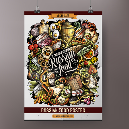 Cartoon hand drawn doodles Russian food poster design template. Very detailed, with lots of separate objects illustration. Funny vector artwork. Ilustração