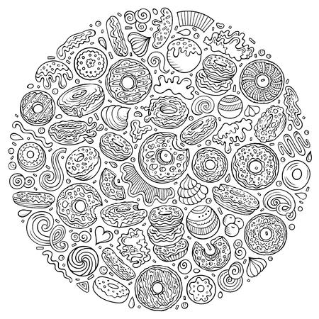 Ensemble dessiné à la main d'art vectoriel d'objets, de symboles et d'articles de dessin animé Donuts. Composition ronde