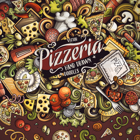 Cartoon vector doodles Pizza frame Vettoriali