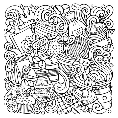 Cartoon vector doodles Coffee House illustration. Line art detailed, with lots of objects background. All objects separate. Sketchy Cafe funny picture Stock Illustratie