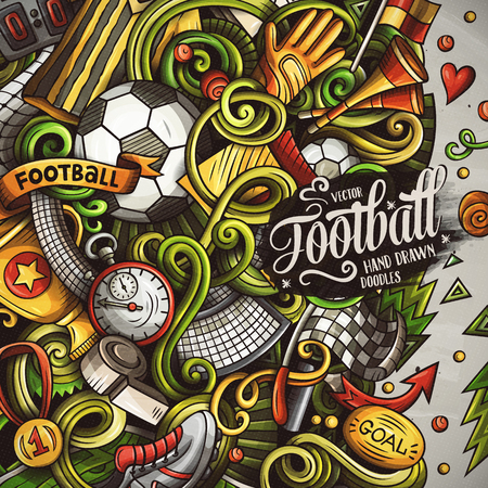 Cartoon vector doodles Soccer frame Banco de Imagens