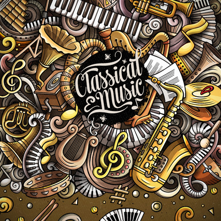 Cartoon vector doodles Classic music frame Stock Photo
