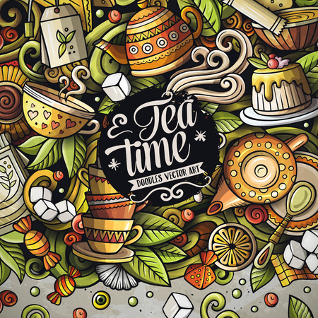Cartoon vector doodles Tea time frame