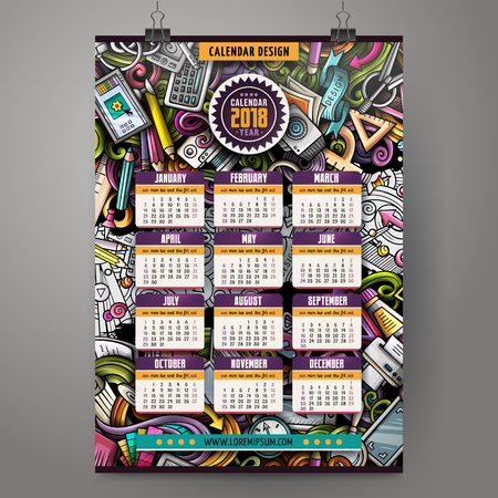 Cartoon colorful hand drawn doodles Artist 2018 year calendar template. English, Sunday start. Very detailed, with lots of objects illustration. Funny vector artwork.