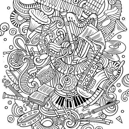 Cartoon vector doodles Classic music illustration. Line art, detailed, with lots of objects background. All objects separate. Sketchy musical funny picture Archivio Fotografico - 105621927
