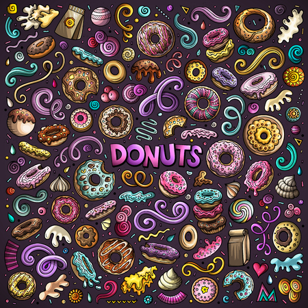 Colorful vector hand drawn doodle cartoon set of Donuts objects and symbols