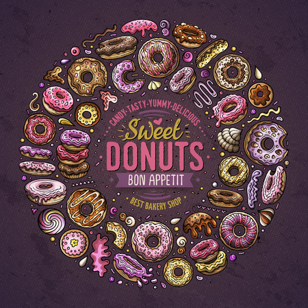 Colorful vector hand drawn set of Donuts cartoon doodle objects, symbols and items. Round frame composition Ilustração