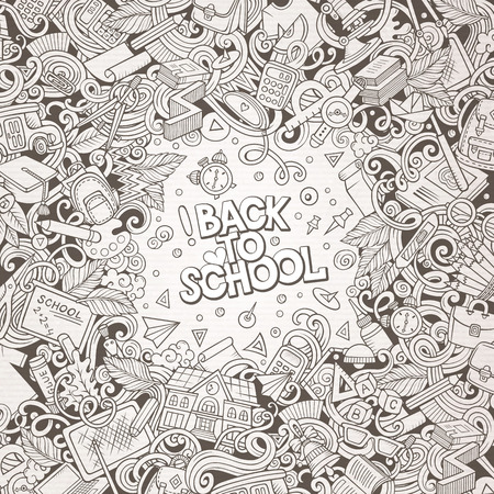 Cartoon vector doodles Back to school frame. Line art, detailed, with lots of objects background. All items are separate. Sketchy education funny border Vettoriali