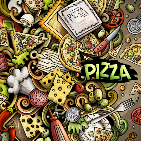 Cartoon vector doodles of Pizza theme